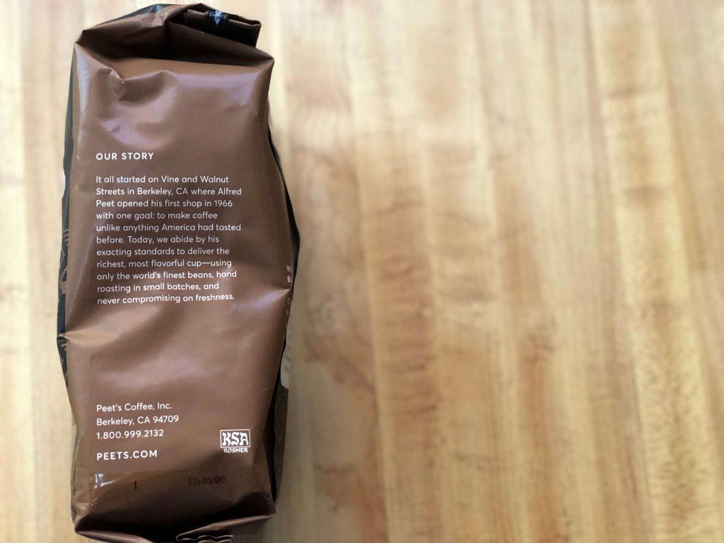 家庭用コーヒー豆のパッケージに記載されているピーツコーヒーの歴史