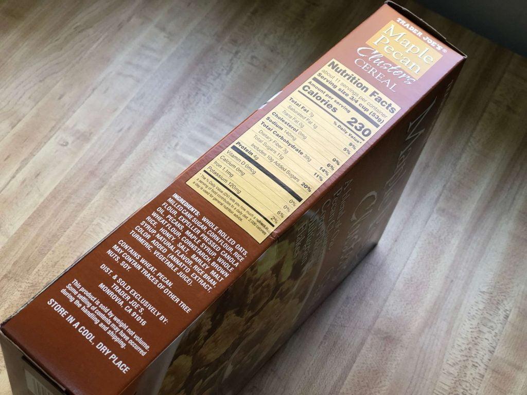 トレーダージョーズが販売するメープルピーカンシリアルの原料表示