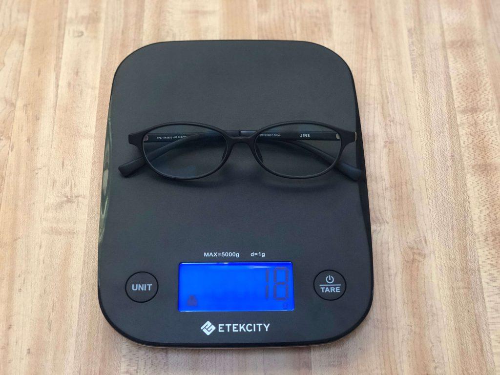 ジンズブルーライトカットメガネ(ジンズスクリーン)の重さ測定