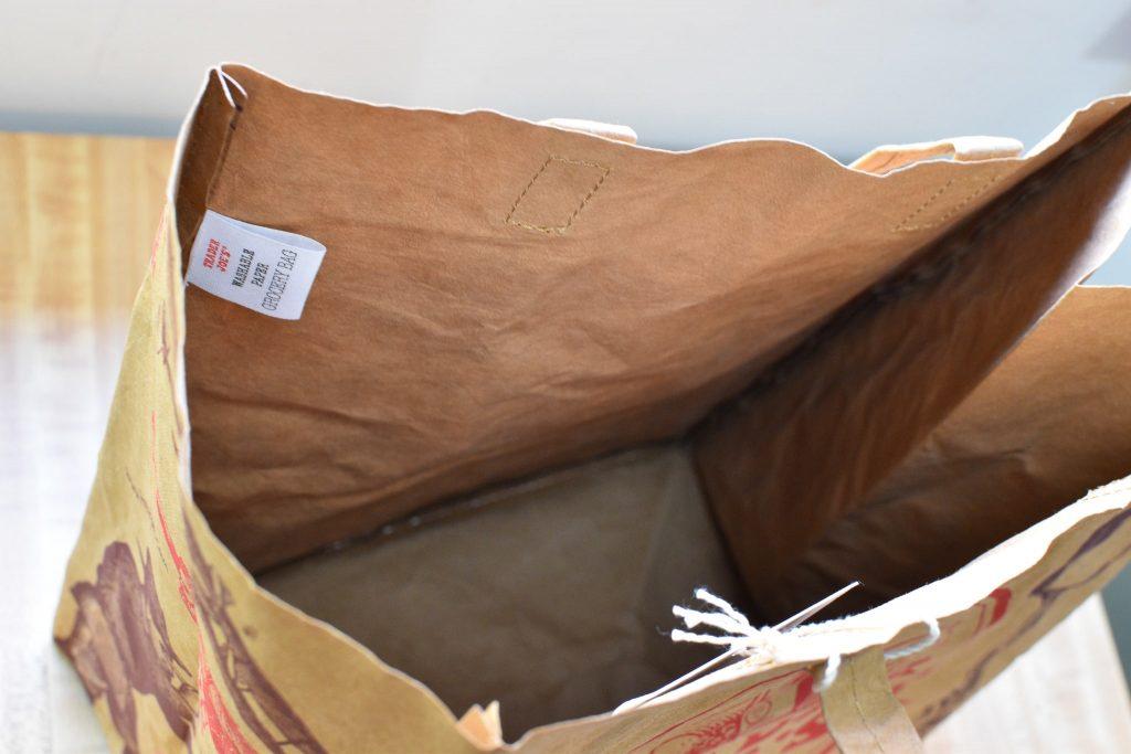トレジョ(トレーダージョーズ)のウォッシャブル紙エコバッグの内側